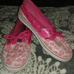 Sperry Shoes - Sperry Top Siders Biscayne Pink Leopard Boat Shoes